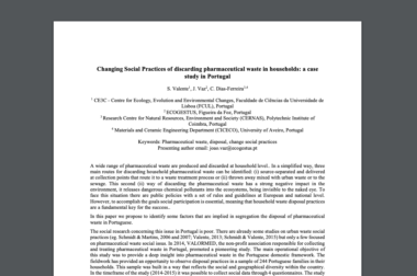 Changing social practices of discarding pharmaceutical waste in households: a case study in Portugal – Dezembro, 2016